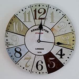 Horloge murale london kensington station 60cm multicolore nostalgie cuisine tinas collection for Horloge murale multicolore