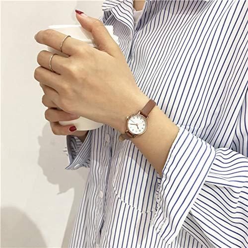 FDIJM Einfache Kleine Zifferblatt Frauen Weiße Uhr Weibliche Uhr Retro-Uhren Vintage Leder Damen Armbanduhren, Braun Weiß