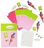 Unbekannt Bastelset: 3-D Einladungskarten incl. Umschlag -  Schultüte & Zuckertüte  - Karten gestalten für Mädchen - z.B. für Schulanfang / Schulbeginn - Einladung Ka..