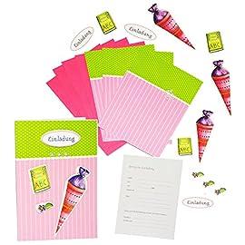 Bastelset-3-D-Einladungskarten-incl-Umschlag-Schultte-Zuckertte-Karten-gestalten-fr-Mdchen-zB-fr-Schulanfang-Schulbeginn-Einladung-Karte-Schuleinfhrung-Schule-Geburtstag-Zuckertten-Scrapbooking