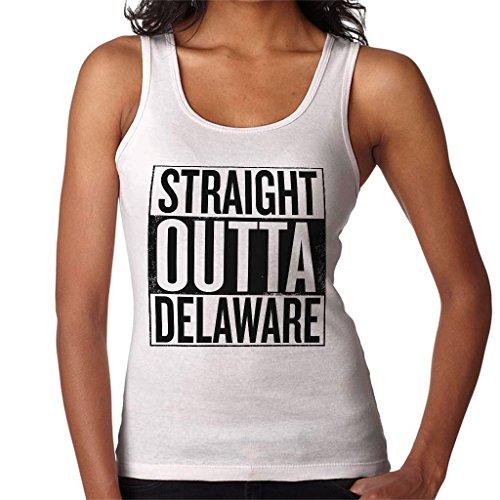 Coto7 Black Text Straight Outta Delaware US States Women's Vest White