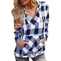 LuckES Camiseta de Mujer con Capucha, Sudadera con Capucha enrejada Mujer Blusa con Cuello en