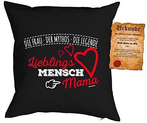 Muttertag Deko Kissen LieblingsMensch MAMA Die Frau Der Mythos Die Legende mit Gratis-Urkunde