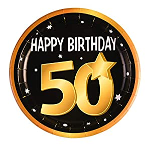 "Forum Novelties-50th Birthday Paper 9"" (8 in pkt) Platos, Color black, gold, white (X81639)"