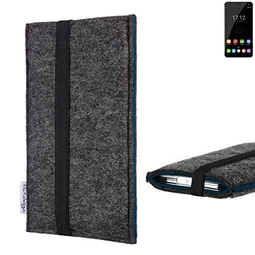 flat.design Handyhülle Lagoa für Oukitel U11 Plus   Farbe: anthrazit/blau   Smartphone-Tasche aus Filz   Handy Schutzhülle  Handytasche Made in Germany
