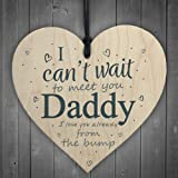 RED OCEAN Daddy To Be Can't Wait To Meet You Wooden Heart Dad Father Funny Card Love You Baby Bump Birthday Gift