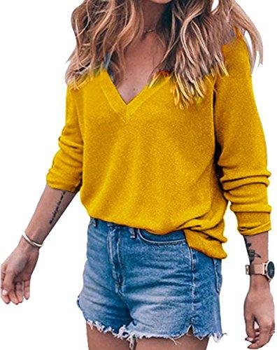 Gelb L/s Shirt (Meyison Damen V Ausschnitt Casual Shirts Knit Pullover Tops Gelb-S)