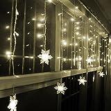 Malloom® 3.5M Navidad Luces de Cuerda copo de nieve LED cadena de cortina Luces (blanco)
