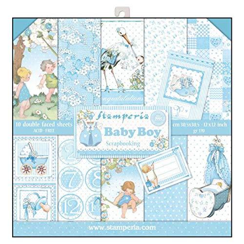'stamperia sbbl40Bloc de papel 10hojas doble cara Baby Boy, papel, multicolor, 30.5x 30.5(12'x 12)