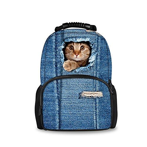 Imagen de injersdesigns casual  mujer hombre viaje  laptop school bags para adolescentes denim perro gato alumnos bookbags para niñas niños c3304a