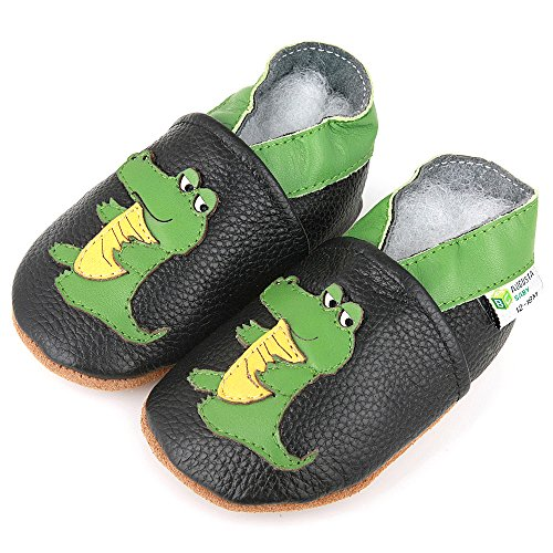 AUGUSTA BABY Baby Boys Girls First Walker Soft Sole Leather Baby Shoes - Genuine Leather Alligator boy