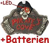 Großes * PIRATEN DEKOSCHILD * mit LED-Licht (inklusive Batterien) // Das perfekte Zubehör für eine Piraten-Mottoparty // Party Kinder Kindergeburtstag Geburtstag