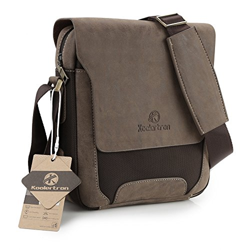 Koolertron Mens Canvas Pu Shoulder Bag Handbags Briefcase for the Office Messenger Bag/Large Enough to Hold Books / iPad
