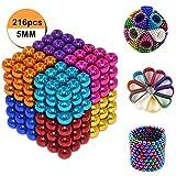 Kuiji Puzzle de Bolas Magneticas, Puzle de Bolas de 216 Bolas Magnéticas 5MM (8 Colores, 1 Set)