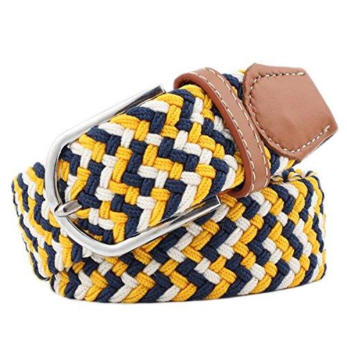 Cinturón amarillo y negro de tejido trenzado