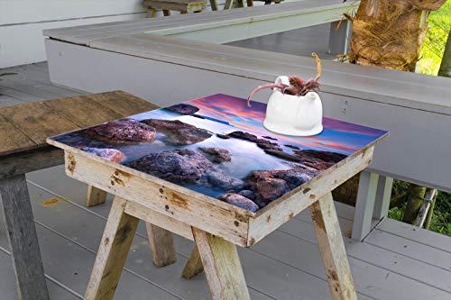 Wallario Aufkleber Selbstklebende Garten-Tisch-Decke - Seelandschaft in blau und rot mit großen Felsen in 100 x 100 cm (Felsen Große)