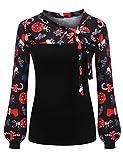 Zeagoo Damen Schluppenbluse Gestreiftes Shirt Blusen Langarmshirt Obertail Frühling Herbst Hemd (Blumen 1, EU 40/L)