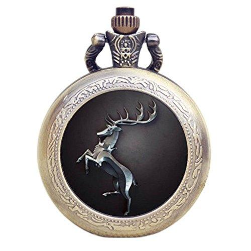 Herren-Taschenuhr / Halskette mit Uhr, Thema: Game of Thrones, Design: Haus Baratheon, Quarzuhr, an 80cm langer Kette, Retro-/Vintage-Stil, Farbe: Bronzeoptik antik