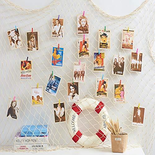 WOWOSS 40 Stück Clips+10 Stück versteckte Nägel, 40 x 79 Zoll Bild DIY Fischernetz Foto hängende Fischernetz Wanddekor mit Muschel