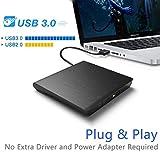 Externes CD DVD Laufwerk USB 3.0, Qibaok CD DVD-RW Brenner Laufwerk für Windows Vista/XP/7/8/10 / Mac OS, MacBook Pro/Air Desktop Notebook - Schwarz