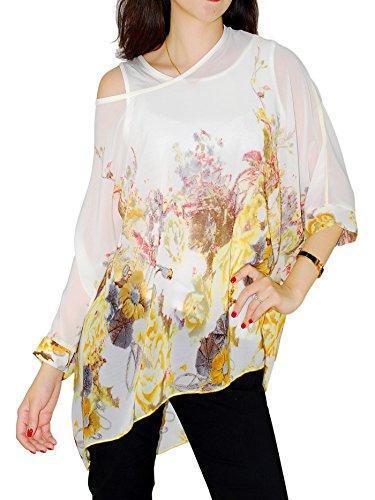Oksakady Frauen lose T-Shirt Chiffon Batwing Ärmel Bluse Plus Size Tunika (Batwing Chiffon-bluse Ärmel)