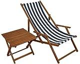 Erst-Holz Liegestuhl blau-weiß Gartenstuhl Tisch Deckchair Buche dunkel Strandstuhl klappbar 10-317 T