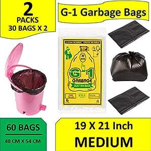 G-1 19X21-60 Pcs - Garbage Bags Medium Size Black Disposable Trash Waste Dustbin Bags of 54Cm X 48Cm