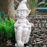 garden mile® Schlafende Elfe im Blumentopf, weißer Steineffekt, Gartenfigur für den Garten, schlafender Gartenzwerg für den Garten, Blumenbeete, Teich-Seite, Terrasse, Veranda, Veranda, Veranda.