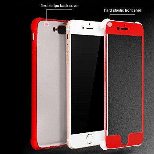 iPhone 7Plus Hülle, Luxus Rot Design CLTPY iPhone 7Plus Hybird Hartplastik Handytasche [3 in 1] Dünne Matt Ganzkörper Stoßfesten Abdeckung für Apple iPhone 7Plus + 1 x Freier Stylus Schwarz B