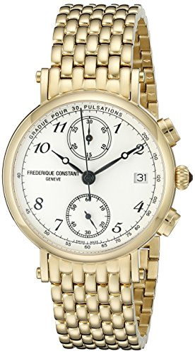 Frederique Constant Classics FC291A2R5B 34mm Gold Steel Bracelet & Case Anti-Reflective Sapphire Women's Watch