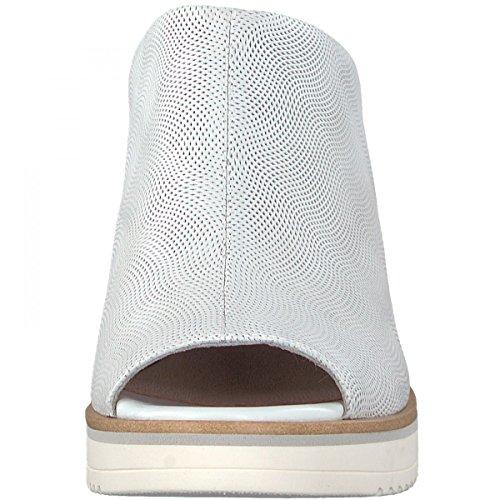 Tamaris Damen Keil-Pantoletten Braun Weiß