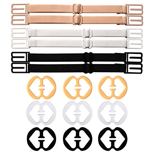 6 Pieces Non-slip Bra Straps Elastic Adjustable Bra Strap Holder with 9 Pieces Bra Clips Test
