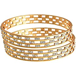 Jewels Galaxy Elegant Precious AAA American Diamond Bangles - Pack Of 2 (2.6)