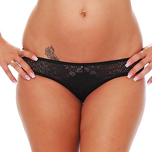 Speidel Bikinislip mit Spitze, Slip in Schwarz, Dunkelgrün, Dunkelila, Größen 38 - 44 Schwarz