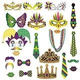 Sayala 24 Pezzi Kit Photo Booth Props Accessori Decorazioni Festa Carnevale Mardi Gras