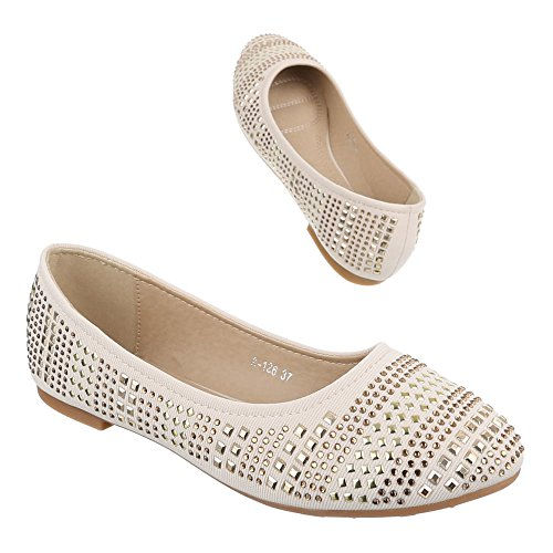 Ital-Design Damen Schuhe, A-126, Ballerinas Pumps mit Strass und Nieten DEKO Beige