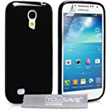Yousave Accessories Silikon Gel Cover für Samsung Galaxy S4 Mini – Schwarz
