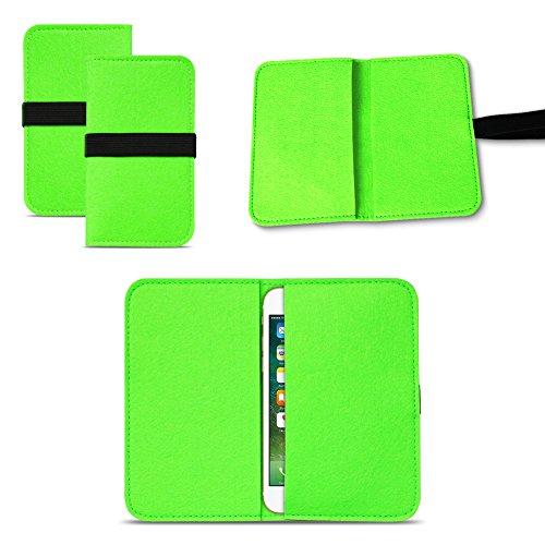 UC-Express Universal Smartphone Cover Tasche Handytasche Case Hülle Schutzhülle Sleeve Filztasche mit Kartenfach, Farbe:Grün, Smartphone:Allview P5 Lite