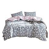 XDFRT Vierteilige Anzug 100% Baumwolle gewaschen Baumwolle Bettlaken Bettbezug Bettwäsche Set von Vier 1,5 m / 1,8 m / 2,0 m Reaktivdruck kein Verblassen Keine Verformung Pflanze Muster