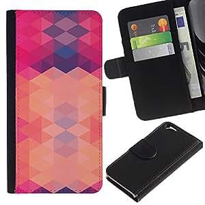 Planetar® Bunte Muster-Schlag-Mappen-Leder Hülle Case schützende Haut Abdeckung Apple (4.7 inches!!!) iPhone 6 / 6S (Polygon Pink Purple Pattern Abstract)
