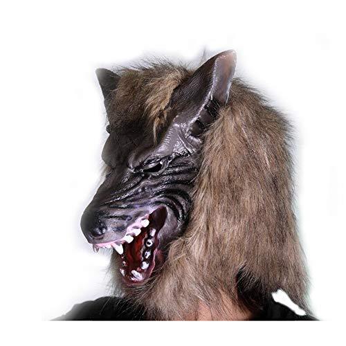 GHH Werwolf-Maske Mit Haaren Halloween Dress up Braune Werwolf-Maske Mit Scharfen Spitzen Zähnen Erwachsene Größe,Brown