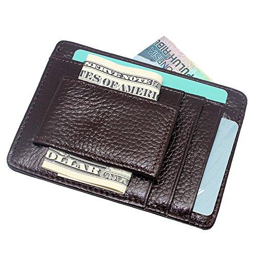 boshiho Geldbörse aus echtem Leder, magnetisch, Geldklammer vorne, Kreditkartenfächer, schlankes Design - Holder Card Magnet Clip Geld