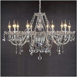 Dst Marie Therese 10-bras en verre transparent cristal Droplets Pendant Lamp Light Chandelier Diamšštre 80cm cha?ne Hauteur 60cm 60cm