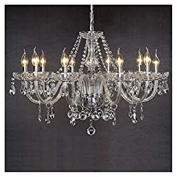 Dst Marie Therese 10-arms Clear Geniune Crystal Glass Droplets Pendant Lamp Chandelier Ceiling Light Fixture for Study Room/Office, Dining Room, Bedroom, Living Room, Size: Diameter 80 Centimeter Height 60 Centimeter Chain 60 Centimeter