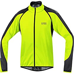 Gore Bike Wear Phantom 2.0 Windstopper Soft Shell - Veste 3 en 1 pour cycliste sur route, Homme, Jaune néon / noir, M