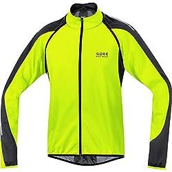 Gore Bike Wear Phantom 2.0 Windstopper Soft Shell - Chaqueta 3 en 1 para Ciclista de Carretera, Hombre, Amarillo Neón/Negro, M