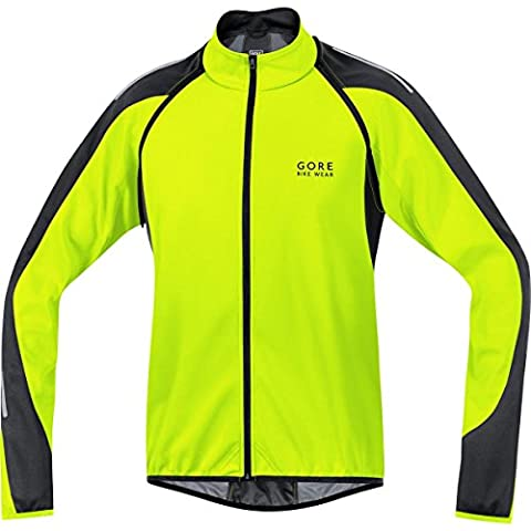 GORE BIKE WEAR Homme 3 en 1, Veste de cyclisme sur route, maillot et gilet, Coupe-vent, PHANTOM 2,0, Taille L, Jaune Fluo/Noir