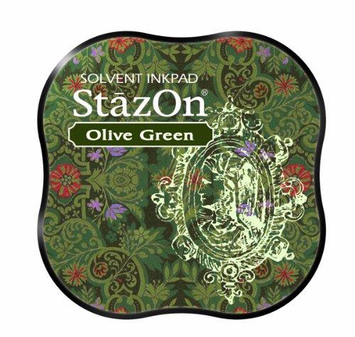Tsukineko Stazon Midi Pad, Cherry Pink _ PARENT Olivgrün (Olive Green Gläser)