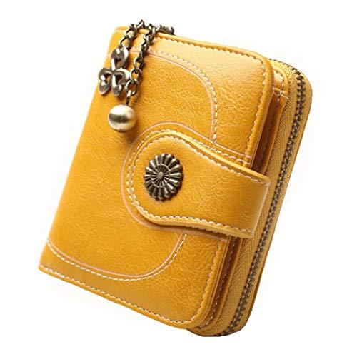 Vintage Leather Cera petróleo Corta Las Mujeres Carteras