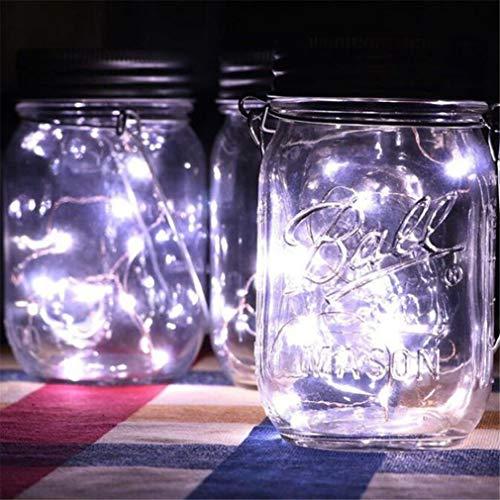 r Einmachglas Fairy Firefly Deckel Dekor Lichter tragbare Laterne, 3er Pack,White ()